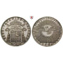 Vatikan, Sede Vacante, Camerlengo Pietro Francesco Galleffi, Scudo 1830, vz+