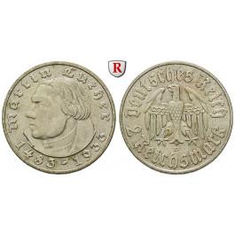 Drittes Reich, 2 Reichsmark 1933, Luther, D, ss-vz, J. 352