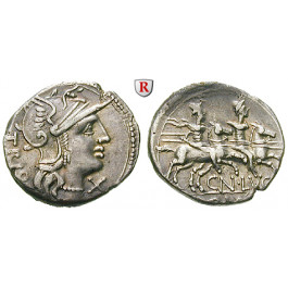 Römische Republik, Cn. Lucretius Trio, Denar 136 v.Chr., ss+
