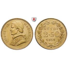 Vatikan, Pius IX., 2 1/2 Scudi 1858, 3,89 g fein, vz-st