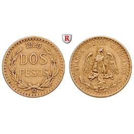 Mexiko, Vereinigte Staaten, 2 Pesos 1920, 1,5 g fein, ss+