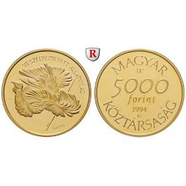 Ungarn, Republik, 5000 Forint 1994, 4,54 g fein, PP