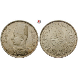 Ägypten, Farouk, 20 Piaster 1939, vz/vz-st
