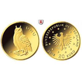 Bundesrepublik Deutschland, 20 Euro 2018, Heimische Vögel, Uhu, 1/8 Unze, nach unserer Wahl, D-J, 3,89 g fein, st