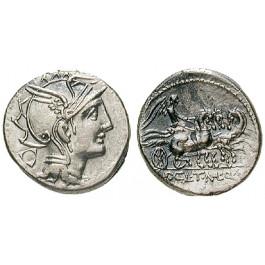 Römische Republik, Appius Claudius Pulcher, T. Manlius Mancinus, und Q. Urbinus, Denar 111-110 v.Chr., ss-vz
