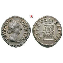 Römische Kaiserzeit, Faustina II., Frau des Marcus Aurelius, Denar 147-176, f.vz