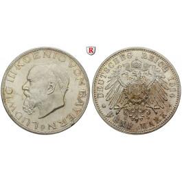 Deutsches Kaiserreich, Bayern, Ludwig III., 5 Mark 1914, D, vz/vz-st, J. 53