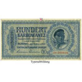 Besatzungsausgaben des 2. Weltkrieges 1939-1945, Reichskommissariat Ukraine, Rowno, 100 Karbowanez 10.03.1942, II-, Rb. 597a