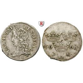 Schweden, Karl XI., 2 Mark 1668, vz