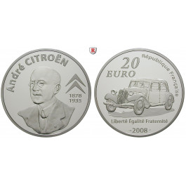 Frankreich, V. Republik, 20 Euro 2008, 155,61 g fein, PP