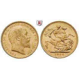 Australien, Edward VII., Sovereign 1906, 7,32 g fein, vz/vz-st