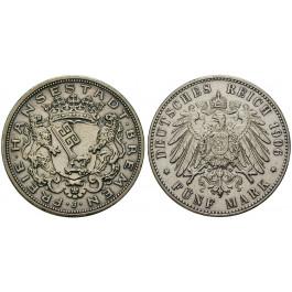 Deutsches Kaiserreich, Bremen, 5 Mark 1906, J, ss-vz, J. 60