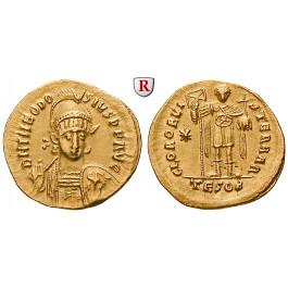 Römische Kaiserzeit, Theodosius II., Solidus 443-450, vz