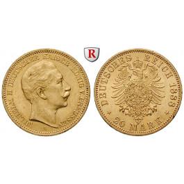 Deutsches Kaiserreich, Preussen, Wilhelm II., 20 Mark 1888, A, vz, J. 250