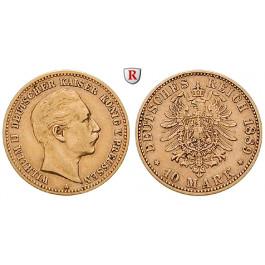 Deutsches Kaiserreich, Preussen, Wilhelm II., 10 Mark 1889, A, ss+, J. 249