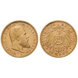 Deutsches Kaiserreich, Württemberg, Wilhelm II., 10 Mark 1901, F, vz-st, J. 295
