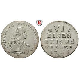 Brandenburg-Preussen, Königreich Preussen, Friedrich II., 1/6 Reichstaler 1751, f.vz