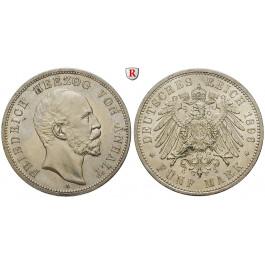 Deutsches Kaiserreich, Anhalt, Friedrich I., 5 Mark 1896, A, vz+, J. 21