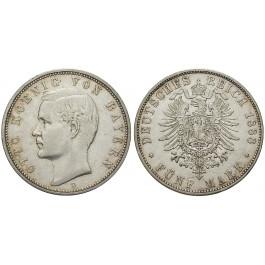 Deutsches Kaiserreich, Bayern, Otto, 5 Mark 1888, D, ss+, J. 44