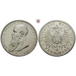 Deutsches Kaiserreich, Sachsen-Meiningen, Georg II., 5 Mark 1902, Bart berührt den Perlkreis, D, ss-vz, J. 153a
