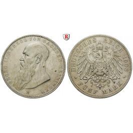 Deutsches Kaiserreich, Sachsen-Meiningen, Georg II., 5 Mark 1908, kurzer Bart, D, ss-vz, J. 153b