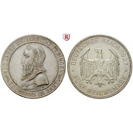 Weimarer Republik, 5 Reichsmark 1927, Uni Tübingen, F, vz, J. 329