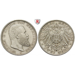 Deutsches Kaiserreich, Württemberg, Wilhelm II., 2 Mark 1904, F, f.vz, J. 174