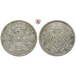 Deutsches Kaiserreich, 50 Pfennig 1898, A, ss, J. 15