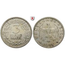 Weimarer Republik, 3 Reichsmark 1931, Kursmünze, A, ss+, J. 349