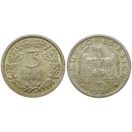 Weimarer Republik, 3 Reichsmark 1931, Kursmünze, E, f.st, J. 349