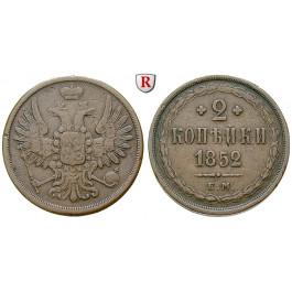 Russland, Nikolaus I., 2 Kopeken 1852, ss