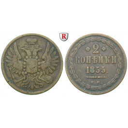 Russland, Nikolaus I., 2 Kopeken 1855, f.ss
