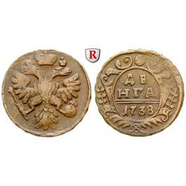 Russland, Anna, Denga 1738, ss+