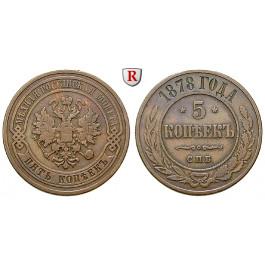 Russland, Alexander III., 5 Kopeken 1878, ss
