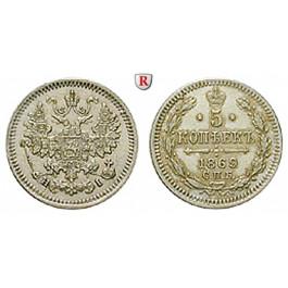 Russland, Alexander II., 5 Kopeken 1869, vz-st