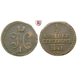 Russland, Nikolaus I., 1/2 Kopeke 1841, ss