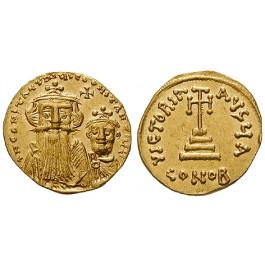 Byzanz, Constans II. und Constantinus IV., Solidus 654-659, vz+