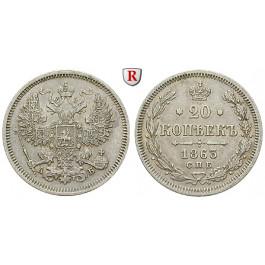 Russland, Alexander II., 20 Kopeken 1863, vz