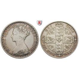 Grossbritannien, Victoria, Florin 1872, ss