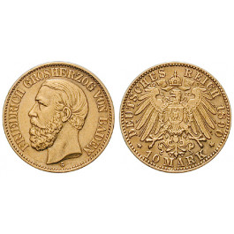 Deutsches Kaiserreich, Baden, Friedrich I., 10 Mark 1890, G, ss-vz, J. 188