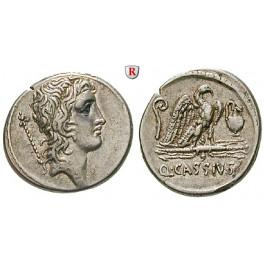 Römische Republik, Q. Cassius Longinus, Denar 55 v.Chr., f.vz
