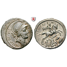 Römische Republik, P. Fonteius P.F. Capito, Denar 55 v.Chr., vz