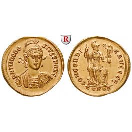 Römische Kaiserzeit, Theodosius II., Solidus 402-403, vz+