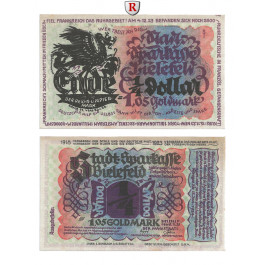 Notgeld der besonderen Art, Bielefeld, 1,05 Goldmark (1/4 Dollar) 8.11.1923, I