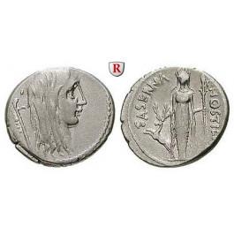 Römische Republik, L. Hostilius Saserna, Denar 48 v.Chr., ss+