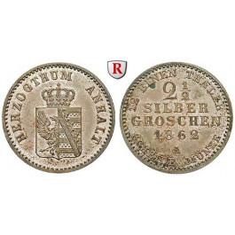 Anhalt, Anhalt-Bernburg, Alexander Carl, 2 1/2 Silbergroschen 1862, vz-st
