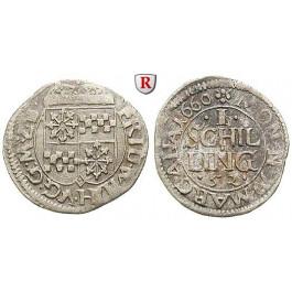 Brandenburg-Preussen, Kurfürstentum Brandenburg, Friedrich Wilhelm, Schilling 1660, ss