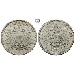 Deutsches Kaiserreich, Lübeck, 3 Mark 1914, A, vz/vz-st, J. 82