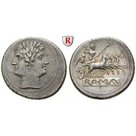 Römische Republik, Romano-kampanische Prägungen, Didrachme (Quadrigatus) 225-212 v.Chr., vz