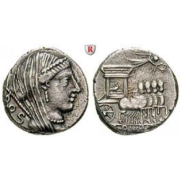 Römische Republik, L. Rubrius Dossenus, Denar 87 v.Chr., ss+